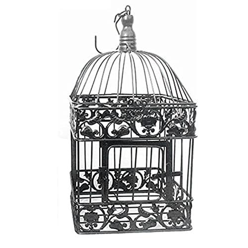 SHUNFAYOUXIANGS Parrot de jaulas de pájaros Forme la Boda Birdcage Hierro Decoración Hogar Cuadrado Pájaro Jaula Decorativa Personalizado Jaula Negro Blanco para Las Cockatiels periquitos. (Size : S)