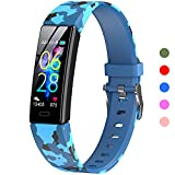 K-berho Kids Fitness Tracker, Fitness Watch Activity Tracker with Pedometers, Heart Rate & Sleep Monitor, Stopwatch, IP68 Waterproof, Smart Band with 11 Sport Modes (Blue Camouflage) 1 Wristband