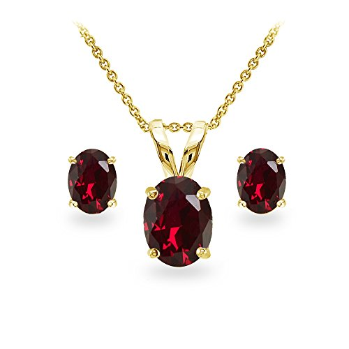 GemStar USA Yellow Gold Flashed Sterling Silver Synthetic Ruby Oval-Cut Solitaire Necklace and Stud Earrings Set