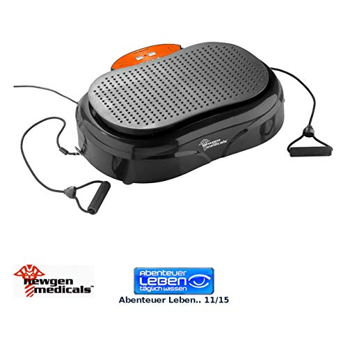 Newgen Medicals Vibrationsgerät: 3in1-Vibrationsplatte bis 150 kg, 300 Watt, Expander, Fernbedienung (Fitness-Vibrationsplatte)