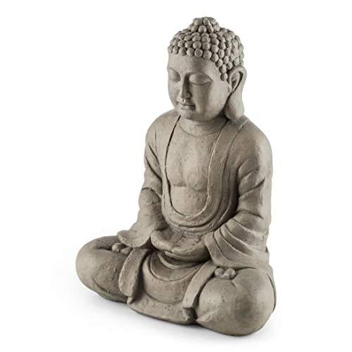 Blumfeldt Siddhartha Zen Edition - Escultura estilo Budista, Hecha a mano, Resistente al mal tiempo, Fibra de vidrio y cemento, Representacion de Siddharta Gautama, Efecto piedra natural, Gris