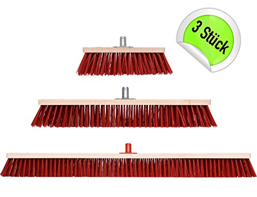 3 x Straßenbesen Werkstatt Besen Industriebesen 100 60 30 cm
