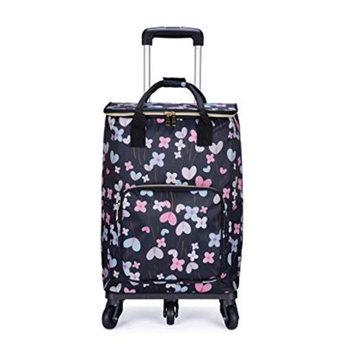 Reizen koffer Bag Cabin Bagage Handtas met Wheel Grocery Winkelwagen Rolling Trolley OneSize 18