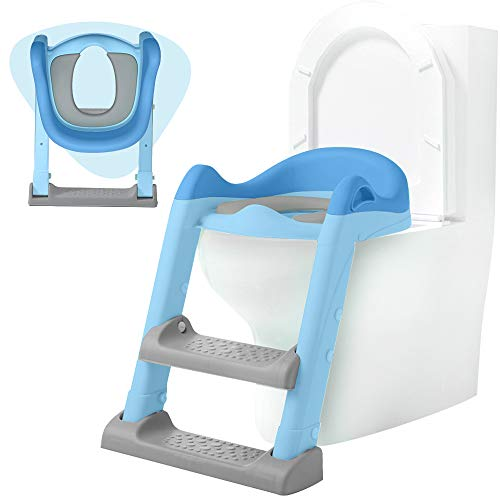 Potty Training Seat for Boys and Girls, Non-Slip Toddler Toilet Seat with Step Stool, Soft Potty Seat for Toddlers, Portable Potty for Toddler Travel, Blue