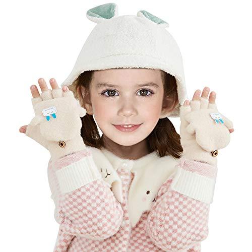EQLEF Halbfinger Handschuhe Kleinkinder, weiche Plüsch-Winterhandschuhe für Kleinkinder mit geschlossenen, kältefesten Cabrio-Halbfingerhandschuhen für Kinder im Alter von 3 bis 6 Jahren (Beige)