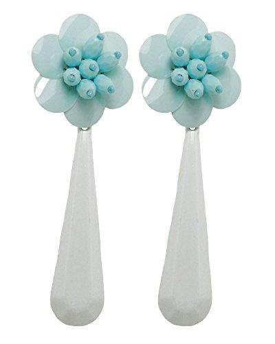 VINTAGE FLOWER - Orecchini con clip, senza buco, pendenti fatti a mano, bottone in paillettes Celeste, originale anni 60, con goccia in resina Bianca, nickel free, lunghezza totale cm. 9