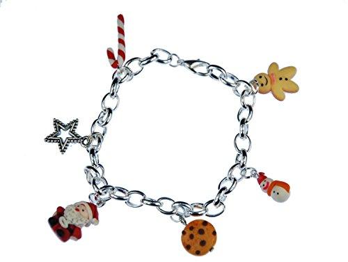 Miniblings Weihnachten Armband 6er Santa Keks Stern Schneemann Zuckerstange X-Mas Lebkuchen - Modeschmuck Handmade - Damen Mädchen Bettelarmband