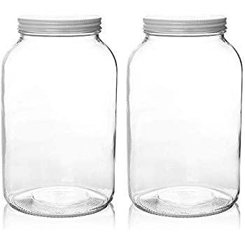 2 Pack - 1 Gallon Glass Mason Jar Wide Mouth with Airtight Metal Lid - Safe for Fermenting Kombucha Kefir - Pickling, Storing and Canning- BPA-Free Dishwasher Safe- By Kitchentoolz
