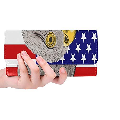 Einzigartige Benutzerdefinierte Weißkopfseeadler Gegen Vereinigte Staaten Amerika Frauen Trifold Brieftasche Lange Geldbörse Kreditkarteninhaber Fall Handtasche