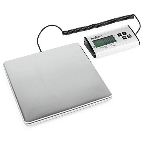 oneConcept Marketee balanza digital para paquetes 150kg 27x27 cm (Báscula digital de precisión, intervalos de 50gr, función conteo y tara, apto funcionamiento a pilas)