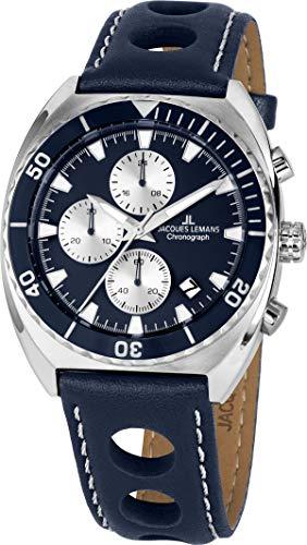 Jacques Lemans Men's Leather Band Case Quartz Analog Watch 1-2041C