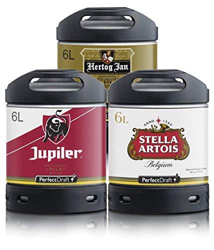 Bier PerfectDraft 3 x 6-Liter Fässer Bier. Zapfanlage für Zuhause. Inklusive 15euros Pfand. (Jupiler - Stella Artois - Hertog Jan)