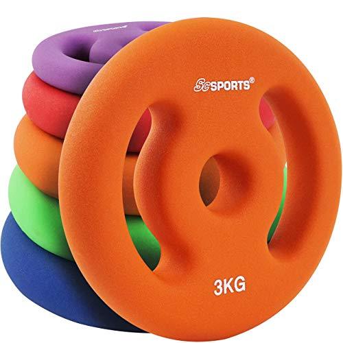 ScSPORTS Hantelscheiben Neopren mit Griffen, 6 kg Set: 2 x 3 kg, Guss Gewichte, 30/31 mm Bohrung, Orange
