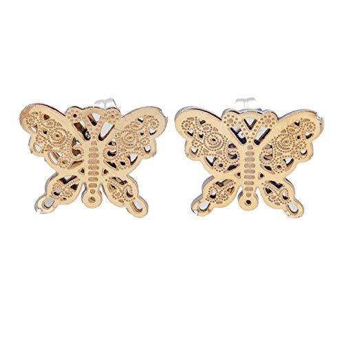 VAGA - Pendientes de acero inoxidable con forma de mariposas (2 unidades, color dorado)