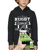 PIXEL EVOLUTION Sweat à Capuche 3D Rugby Clermont en Réalité Augmentée Enfant - Taille 10 Ans - Noir