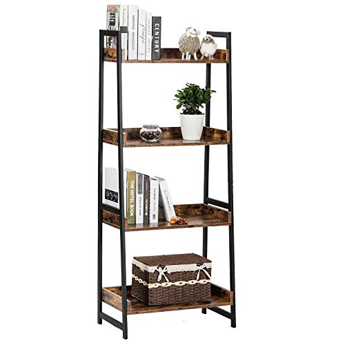 IRONCK Bookcase 60' H, 4 Tier Bookshelf, Industrial Storage Ladder Shelf Unit for Living Room, Bedroom, Bathroom