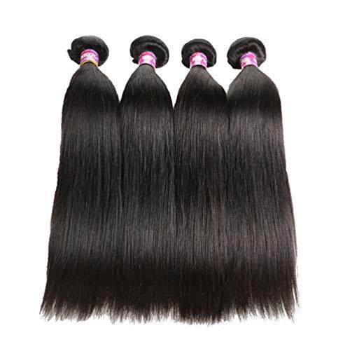 AJIAFA Femme Brésilien Tissage Lisse lot Cheveux Bresilien Lisse Tissage Cheveux Humain Bresilienne Mèches Naturelles (3 Paquets),Noir,14inches