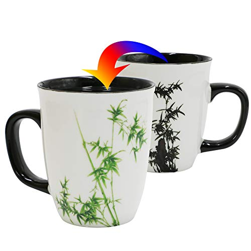 Asmwo Funny Ceramic Magic Heat Color Changing Coffee Mug with Bamboo Printing for Women Personalized White Green Tea Cup Large Mugs for Mom,Girl, Grandma and man 16 oz
