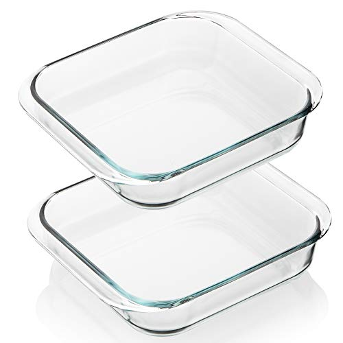 SWEEJAR Glass Bakeware Set(2 Pack), Rectangular Baking Dish Lasagna Pans for Cooking, Kitchen, Cake Dinner, Banquet and Daily Use, 9.4 x 9.4 x 2.4 Inches of Baking Pans