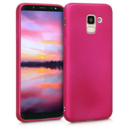 kwmobile Cover Compatibile con Samsung Galaxy J6 - Protezione Back Case Silicone TPU Effetto Metallizzato - Custodia Morbida Fucsia Metallizzato