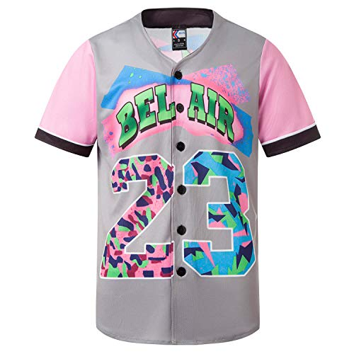 MOLPE Bel-Air Printed Baseball Jersey (Pink, S)