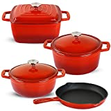 Enameled Cast Iron Cookware Set-Premium Cast Iron Pans for Dutch Oven Cooking Pots, 4 Set (7pieces) Long-lasting Cookware (NEW)