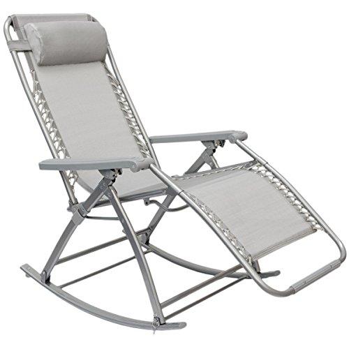 AMANKA Schaukelliege 178x70cm Schaukelstuhl in Grau Klappbarer Verstellbarer Relaxsessel Liege-Stuhl Stahlrahmen Belastbarkeit max. 100 KG