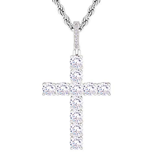 KRKC&CO Cadena de cruz Iced Out, chapado en oro blanco, colgante de cruz de 3 mm, 56 cm, cadena con colgante de cruz con circonita, cadena de estilo hip hop, regalo para hombre