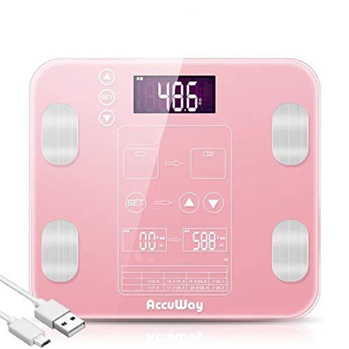 HIOD Básculas de Grasa Corporal Peso Digital Básculas de baño de Alta precisión Grasa Corporal BMI Masa Muscular en Tres Colores,Pink,USBcharging