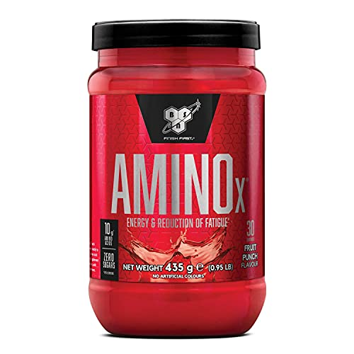 BSN Nutrition Amino X, Suplementos Deportivos BCAA Polvo con Aminoacidos Esenciales y Vitamina D, Aminoacidos BCAA para Musculacion, Ponche de Frutas, 30 Porciones, 435g