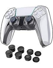 WD&CD Custodia Protettiva Trasparente Compatibile per Sony PS5 Controller, Trasparente PC Cover per Playstation5 Controller con 8 Tappi per Pulsanti, Kit di Accessori Compatibile per PS5 Controller