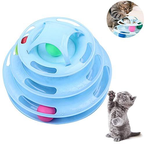 WELLXUNK Interaktives Katzenspielzeug,Katzen Spielturm Spielzeug,Intelligenz Spiel Katze Spielturm Track Ball für Training & Beschäftigung(Blau)