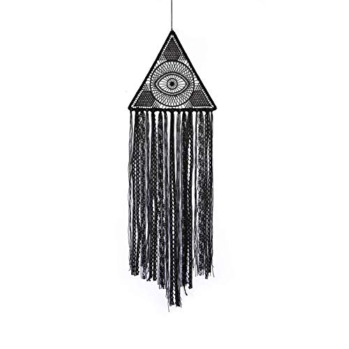 "Black Dream Catchers Wall Hanging Decor, Boho Handmade Macrame Dream Catcher Wall Ornament, DIY Evil Eye Large Dreamcatcher for Bedroom Gothic Wall Hanging Ornament Decoration (L 10.25"" X H 32.68"")"