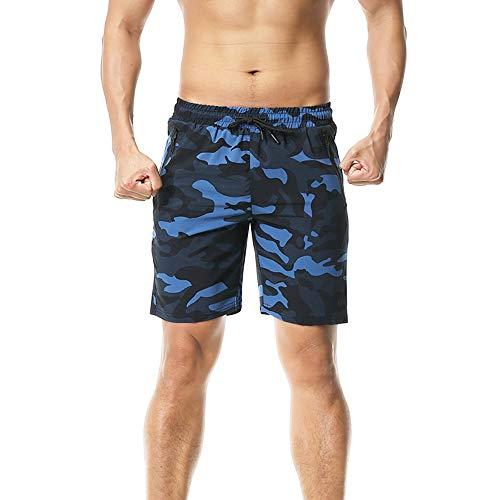 FELiCON Pantalones Cortos de Secado rápido para Correr, con Bolsillos con Cremallera, Sueltos, Ligeros Azul Negro M