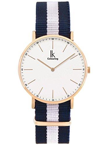 Alienwork Armbanduhr Herren Damen Rose-Gold NATO-Armband blau Ultra-flach Sportlich
