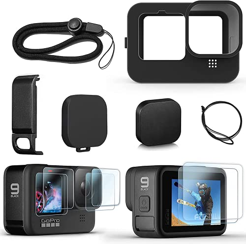 FitStill Silicone Sleeve Case for Hero 10 /Hero 9 Black, Battery Side Cover & Screen Protectors & Lens Caps & Lanyard for Go Pro Hero10 Hero9 Accessories Kit