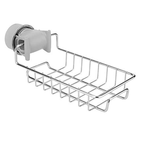 Aigid Support de vidange de robinet - Ventouses fortes Étagère de bain de douche Panier en acier inoxydable antirouille Robinet de cuisine Porte-éponge pour accessoires de salle de bain