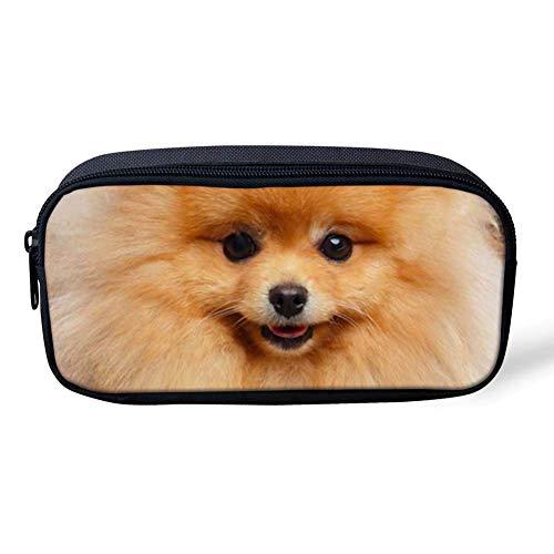 Kawaii - Estuche para lápices de perro para mujer, adolescente y niña, pequeña bolsa de cosméticos, caja de lápices de papelería, estuche para bolígrafos (omerano)