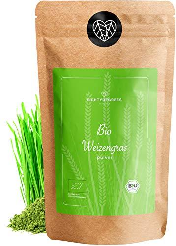 BIO Weizengras Pulver - 100% reines Weizengraspulver aus jungen Gräsern - Rohkostqualität - kontrolliert und abgefüllt in Deutschland (DE-ÖKO-39) Rückstandskontrolliert | 80degrees (500g)