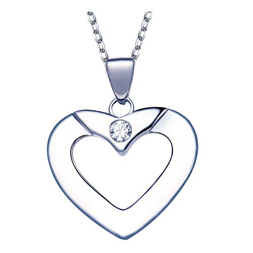 """Beyond Jewelry 925スターリングシルバー ハートネックレス -""""You are in My Heart"""" Love プラチナメッキ 高光沢ペンダント 18インチ 調節可能"""