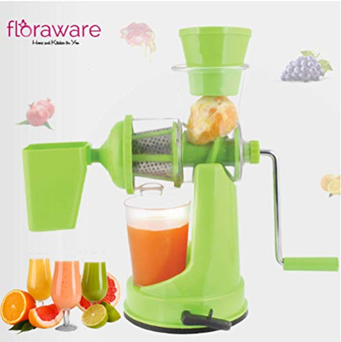 Floraware Plastic Fruit and Vegetable Juicer with Waste Collector (Green)
