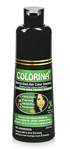 Colorina Hair Color Shampoo (Natural Black) 200 ml | Colors Hair not Skin | Instant Black Hair in Just 5 Minutes