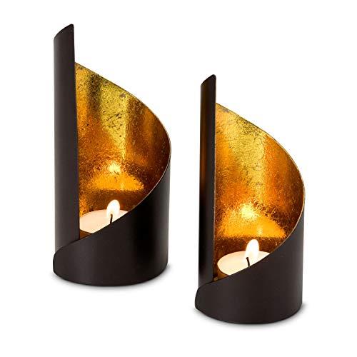 ROMINOX Geschenkartikel Teelichthalter//mit Goldfolienauskleidung, Weihnachten, Grillparty, Valentinstag, Muttertag; Verschiedene Designs (Waves (2er Set))