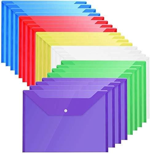 LATERN Carpetas Plastico 6 Colores - A4 Carpeta Plastico Archivadora Documentos Con Bot¨®n (30 piezas)