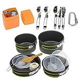 WFIT Acampar Al Aire Libre Utensilios De Cocina Kit Portátil De Cocina Cooking Set con Caldera, Ligero Camping De Ollas Y Sartenes De 2 a 3 Personas