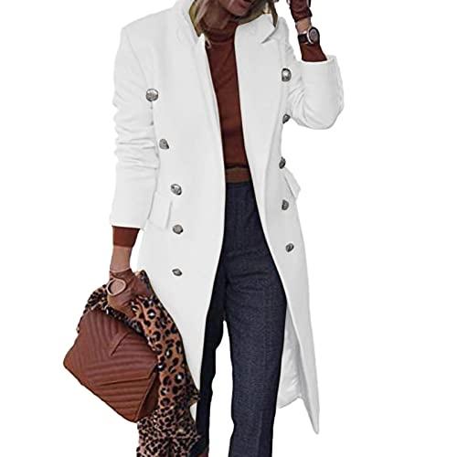 SHOBDW Chaqueta Abrigo de Lana 2021 Nuevo Clásico Manga Larga Cárdigan Mujer Talla Grande Jacket Elegante Parkas Jerseys Slim Fit Jacket Parkas Descuento Invierno Mujer Liquidación Venta(Blanco,4XL)
