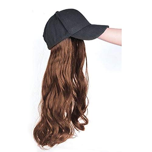 Danping 55CM Baseball Cap Perücke, Lange Lockige Perücke & Hut In Einem Stück, Flauschige Natural Wave Perücke Mit Baseball Cap Für Damen (baseball cap wig,light brown)