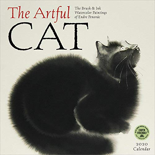 The Artful Cat 2020 Wall Calendar: Brush & Ink Watercolor Paintings