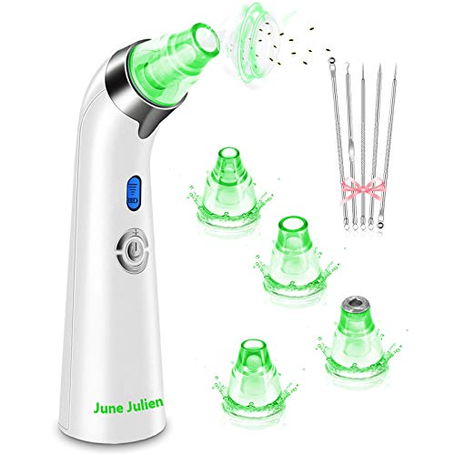 Blackhead Remover Vacuum -June Julien Facial Pore Cleanser Electric Acne Comedone Extractor Kit USB Rechargeable Blackhead Suction Tool with LED Display for Facial Skin(Green)