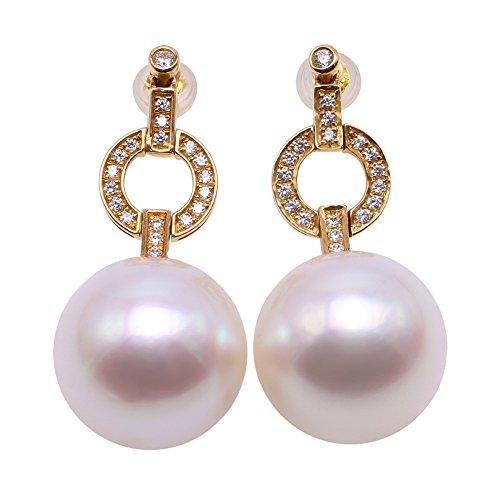 JYX Pearl Pendientes colgantes de oro de 18 quilates AAA+, de calidad, lujosos, auténticos, de 15,5 mm, redondos, blancos del mar del Sur, con perlas cultivadas punteadas con diamantes para mujer